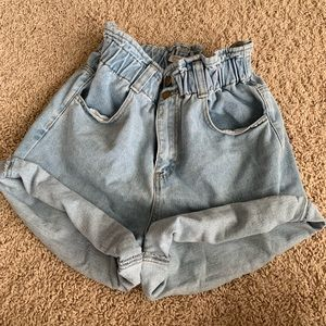 Jean shorts with paperbag waist